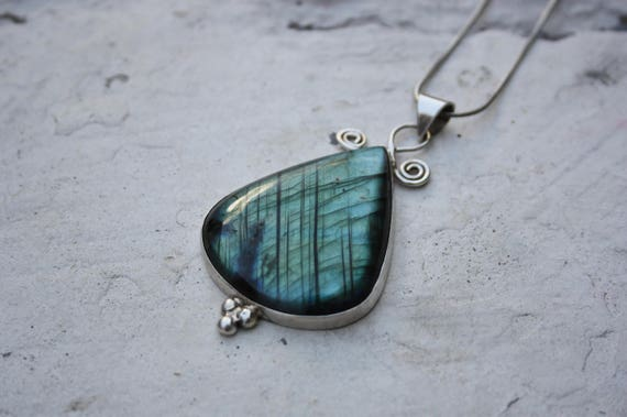 LABRADORITE TEARDROP NECKLACE - Sterling Silver - Statement Necklace - Iridescent - Glowing Necklace - Bespoke - Handmade - Ltd Edition
