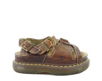Doc Marten 90s Harness Buckle Sandals, Rare 90s New Old Stock, 90's Grunge Braided Sandals, Platform Leather Sandals, Women's US 6 UK 4