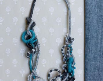 Blue nautical necklace, striped statement fiber jewelry with bamboo beads, OOAK