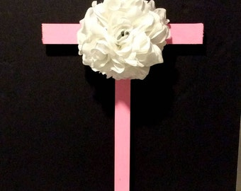 Cemetery Wooden Cross, Roadside Memorial Flowers, Grave Flowers, Cemetery And Funeral, Pink Cross
