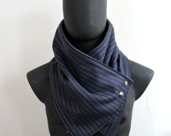 Mens and Womens Scarf.Unisex Cowl,Comfy & warm, Navy blue with gray lines wool,metallic snaps.Classy and chic,Mens winter. Husband gift.