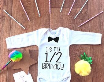 Half Birthday Boy,6 Months Outfit,Six Month Birthday,Photo Props Newborn,Baby Boy Bodysuit,Hipster Baby,Infant One-piece,Baby Shower Gift