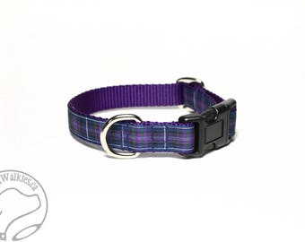"Pride of Scotland Tartan Dog Collar 3/4"" (19mm) Wide / Choice of style and size / Martingale or Side Release / Authentic Scottish Tartan"