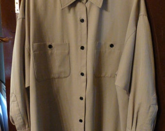 Vintage Anne Klein Lt. Taupe Gabardine Shirt Jacket, Size 8, Ca. Early 1980, Made In USA