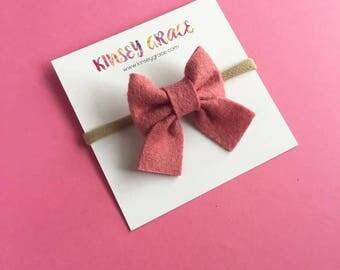 Pink Sailor Bows, Baby Girl Headband, Baby Bow, Baby Headband, Schoolgirl Bow, Newborn Baby Bows, Baby Hair Bows, Girls Hair Clips, Headband
