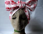 White and Red Dutch Print Headwrap