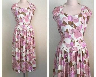 Painterly Rose dress   vintage floral dress    90s rayon dress   s - m