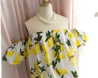Sweet Summer Cute Yellow Lemon off shoulder top blouse women