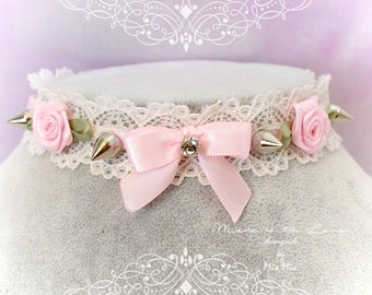 Kitten Play Collar ,Choker Necklace ,Ivory Lace Litttle Bow Pink Rose Spikes Rhinestone Daddys Girl , pastel Lolita Jewelry Fairy Kei  DDLG