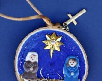 Manger scene Christmas ornament, Baby Jesus, Mary, Joseph, round art, hand made, art on wood, wood slice, religious, hay, family