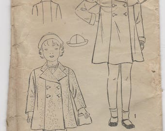 1930s Girls Capelet Coat & Hat Pattern Excel 5057 Size 6