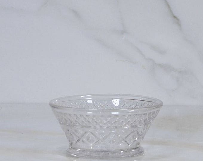 Vintage Small Glass Bowl, Imperial Cape Cod Pattern by Anchor Hocking, Sauce Dish, Berry Bowl, Jewelry Holder, Trinket Dish, Pressed Glass