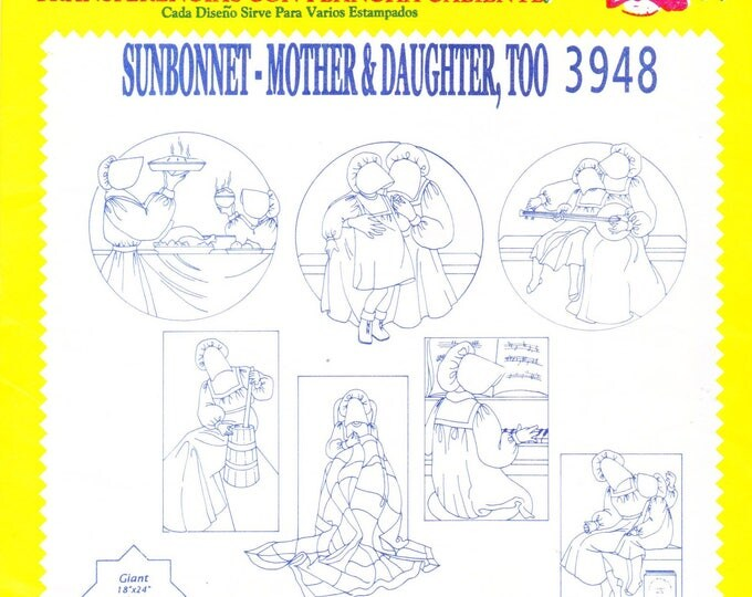 Vintage Aunt Martha's Hot Iron Transfers 3948, Sunbonnet Mother Daughter