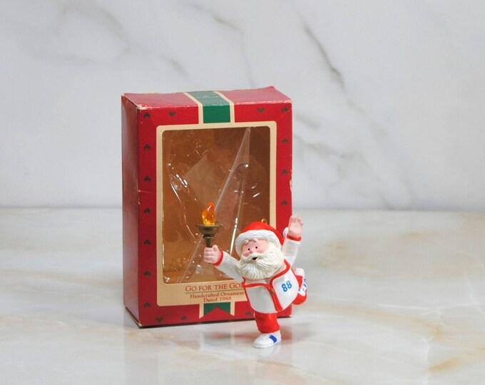 Vintage Hallmark Ornament, Go For The Gold, Handcrafted, Ornament, 1988, Keepsake Ornament, Christmas Decoration, 1988 Winter Olympics
