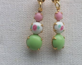 Vintage Mint Green  and Pink Rose Triple Glass Stone Drops Teardrop Rhinestone Dangles. Gift For Her. Country Wedding. Spring Earrings.