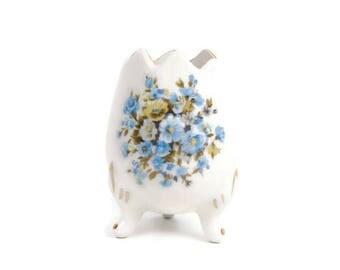 Vintage Porcelain Egg Shell Footed Vase Hand Painted Planter Blue Floral Design Egg Shaped Bowl Easter Decor Flower Arrangement