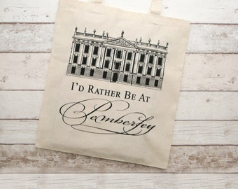 Jane Austen Tote Bag, I'd Rather Be At Pemberley Tote Bag, Gifts For Bookworms, Literary Gifts,  Darcy's Proposal, Pride & Prejudice