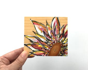 A Knotty Flower ~ Acrylic Painting Original Art on Wood Block Shelf Sitter