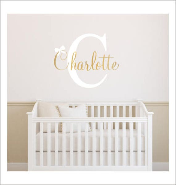 Girls Name Decal Name Initial And Bow Girls Wall Decal - Nursery wall decals gender neutral