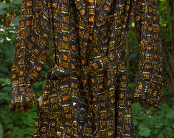 vintage men's dressing gown/robe,circa 1950's,hand screen printed.