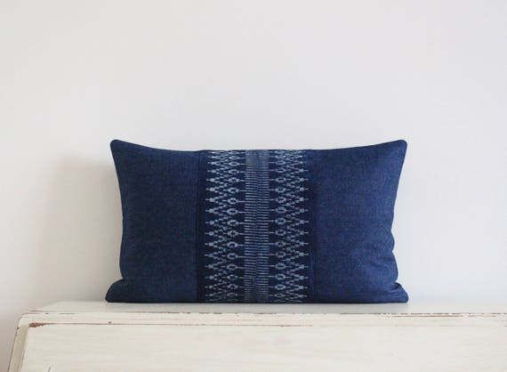 "Hmong batik and denim lumbar pillow cushion cover 12""x 20"""