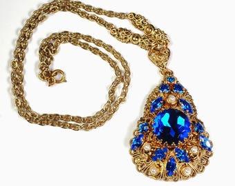 Western Germany Blue Rhinestone Pendant Necklace