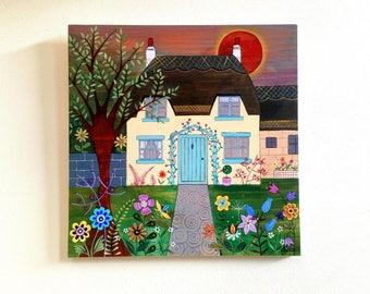 Original Folk Art. Original Painting - Cottage Garden.
