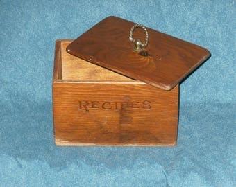 Wood Recipe Box Lift Off Lid Rustic Vintage