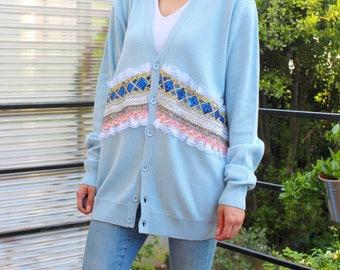 gilet bleu vintage broderies, sequins, dentelles