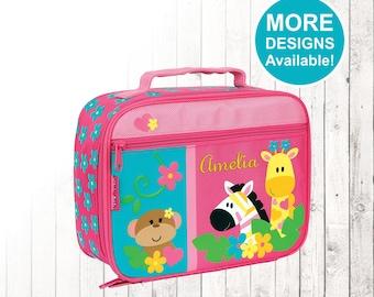 Personalized Zoo Lunch box, Stephen Joseph Lunch Box, Embroidered Childrens Lunch Box, Monogrammed Lunch box, Zoo Zebra giraffe