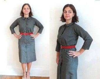 SALE Vintage 50s Shirt Dress - Gray Wool Autumn Fall Button-Up Peter Pan Collar Shift XS/S