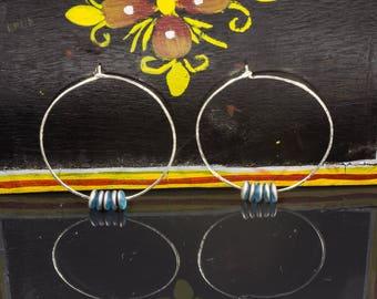 Contemporary Earrings, Beaded Hoops, Modern Hoop Earrings, Minimalist Jewelry, Sterling Silver Hoops, Large Hoop Earrings, Big Silver Hoops