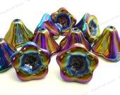 Metallic Iris Luster Flower Glass Beads - 10pcs - AB Finish, Flower Beads, Trumpet Beads - 10x12mm - BP42