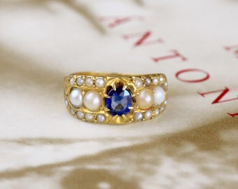 Sold--Reserved for SM--4th of 5 Payments Due 8/10/17--Antique Georgian Sapphire Engagement Ring, Victorian Sapphire Pearl Ring