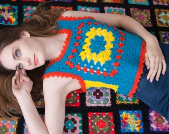 Vintage granny square vest, turquoise blue yellow orange boho crochet knit sweater pullover, 1970s retro colorful