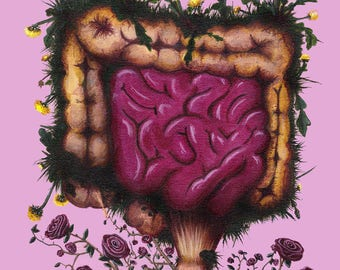 Intestines with Dandelions & Roses -Print-