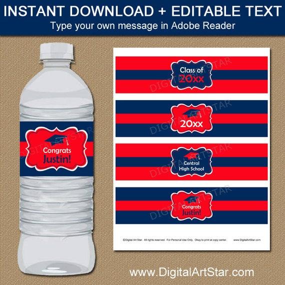 Graduation Party Ideas, Graduation Water Bottle Sticker Template ...