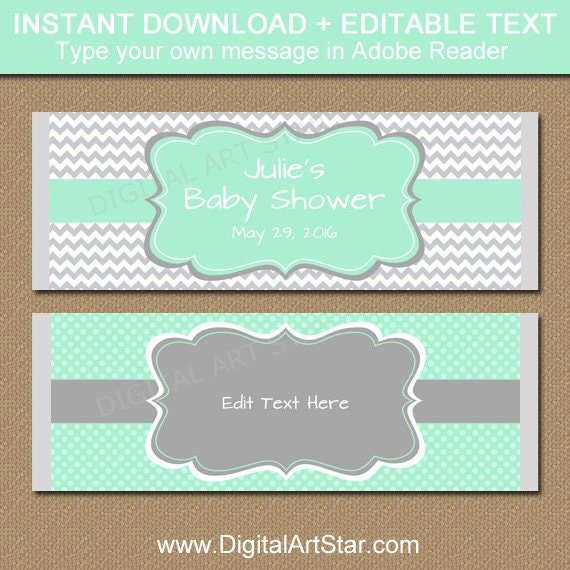Printable baby shower candy wrappers editable mint gray for Candy bar wrappers template for baby shower printable free