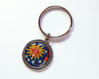 Floral key ring, key chain, Oriental Design, yellow, blue, keyring, stocking stuffer, gift under 10, gift for her (7771)
