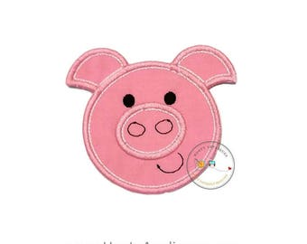 Pink Pig face iron on patch,  puggy pig face machine embroidered heat press patch for clothing, quick shipping appliques
