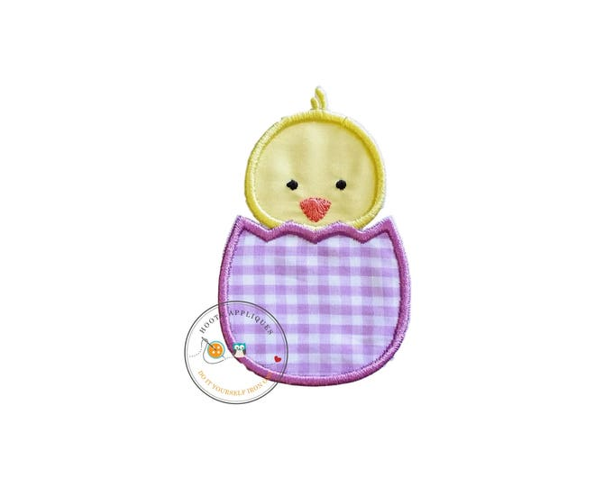 Easter baby chick in light purple gingham egg iron on applique, machine embroidered no sew patch for kids clothing, jackets, ships in 72hrs