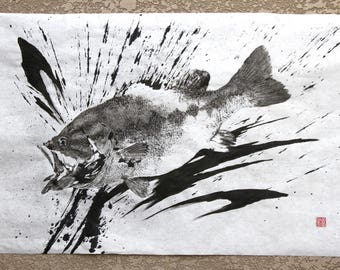 Largemouth BLACK BASS - silhouetted style - ink splashed - Original Gyotaku - traditional Japanese fish art
