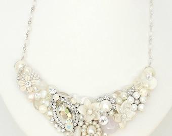Wedding Necklace- Statement Necklace- Bridal Bib Necklace- Pearl Bib Necklace- Pearl Bridal Bib- Brass Boheme Bib- Rhinestones Bridal Bib