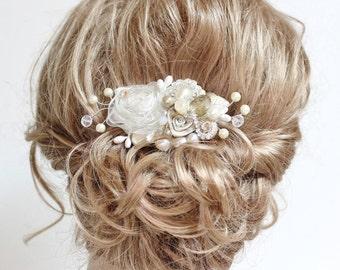 Champagne Bridal Comb- Wedding Hair Piece- Vintage Hair Accessories-  Champagne Bridal Hairpiece- Champagne Bridal Clip- Floral Haircomb