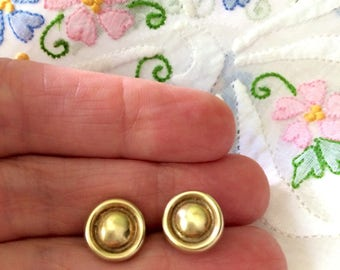 Sterling Silver Vermeil Recessed Dome Stud Earrings ~ Original Backs