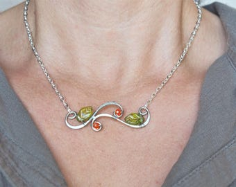Leafy twig necklace Horizontal Bar silver wire Nature delicate jewelry Casual Everyday Minimalist Christmas gift for her girlfriend Mother