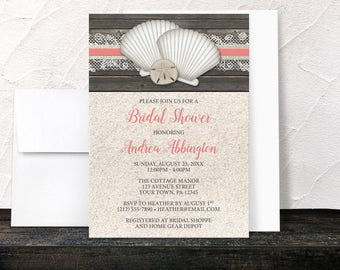 Coral Beach Bridal Shower Invitations - Seashells and Coral Lace on Rustic Brown Wood with Beige Sand - Printed Invitations