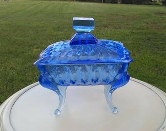 Vintage Handmade Blue Glass Footed Candy Dish with Lid