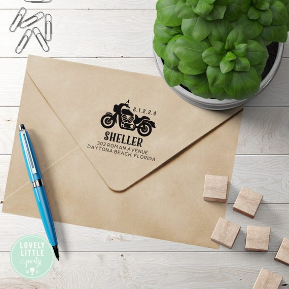 Motorcycle custom self inking address stamp, Harley Address Stamp style 400 - Lovely Little Party