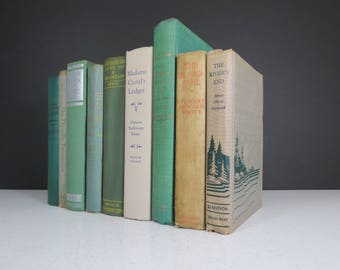 Rustic Book Collection // Mismatched Set of 9 Cabin Style Green Tan Books Decorative Spines Bookshelf Fillers Wedding Decor Centerpiece